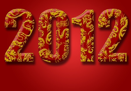 2012 Number with Chinese Year of the Dragon Design Red Background Stock Photo