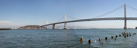 Oakland Bay Bridge Over San Francisco Bay in California Panorama Stock Photo - 10962164