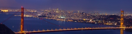 Golden Gate Bridge Over San Francisco Bay and Skyline at Dusk Panorama photo