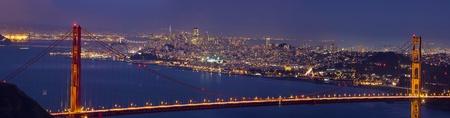 Golden Gate Bridge Over San Francisco Bay and Skyline at Dusk Panorama photo