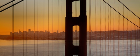 bay area: Sunrise over San Francisco Bay and Skyline with Golden Gate Bridge Panorama
