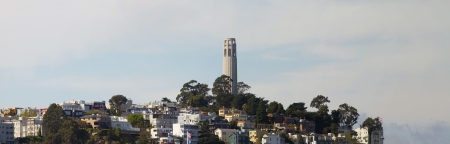 telegraph hill: San Francisco Coit Tower on Telegraph Hill Panorama Stock Photo