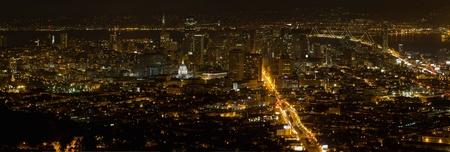 San Francisco California Cityscape at Night with Bay Bridge at Night Panorama photo