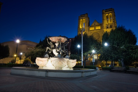 nob hill: Grace Cathedral from Huntington Park In San Francisco at Blue Hour