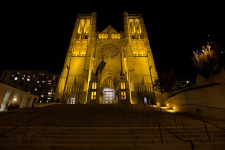 Steps to Grace Cathedral in San Francisco California at night photo
