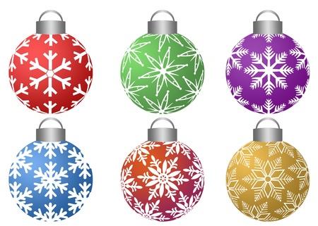 Ornements colorés avec motif de flocons de neige Conception Isolé sur fond blanc