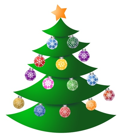 Christmas Tree with Colorful Ornaments and Tree Topper Illustration