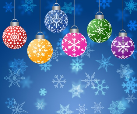 Colorful Hanging Christmas Ornament on Blurred Snowflakes Background Horizontal