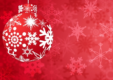 Christmas Red Ornament with Snowflakes Pattern on Blurred Background photo
