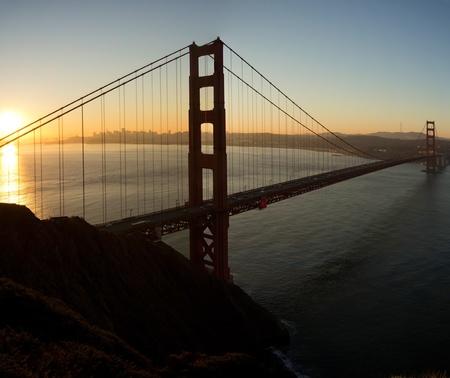 Sunrise over Golden Gate Bridge and San Francisco Bay California Stock Photo - 11021430