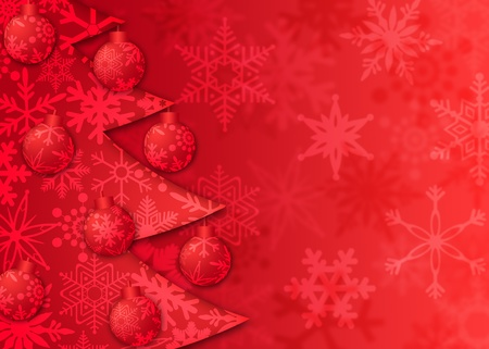Christmas Tree with Ornaments and Snowflakes Pattern on Red Blurred Background