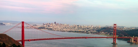 Golden Gate Bridge and San Francisco Bay Area City Skyline Panorama Stock Photo - 11093727