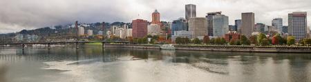 eastbank: City of Portland Oregon Skyline along Willamette River in the Fall Stock Photo