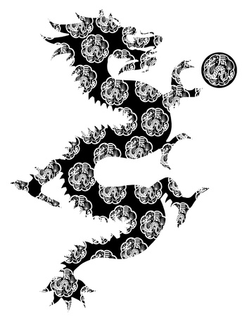 japanese motif: Chinese Dragon Abstract Black and White Clip Art Isolated on White Background Stock Photo