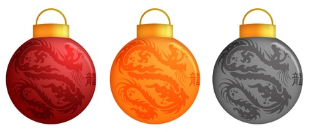christmas dragon: Chinese Dragon Christmas Ornaments Design and Calligraphy Illustration Stock Photo