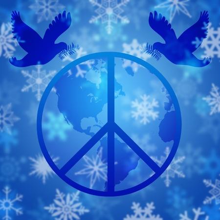 happy planet earth: Navidad paloma de la paz y el globo terr�queo con la ilustraci�n de los copos de nieve