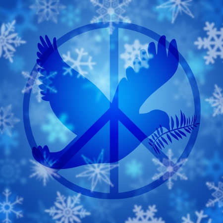 Christmas Peace Dove and Sign Symbol with Snowflakes Illustration illustration