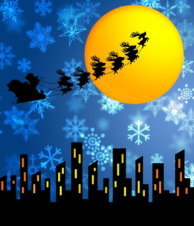 Santa Sleigh and Reindeers Flying over the City with Moon Illustration Stock Photo