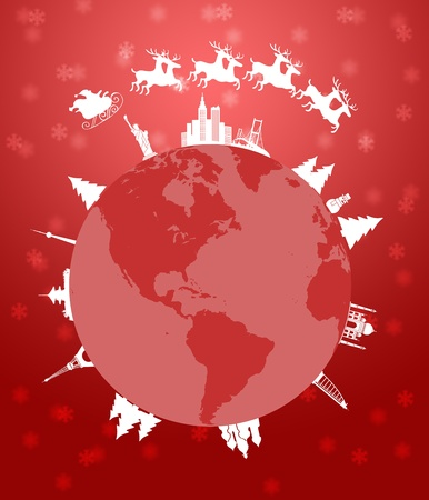 santa sleigh: Santa Sleigh and Reindeer Flying Around the World Globe Red Background Illustration Stock Photo