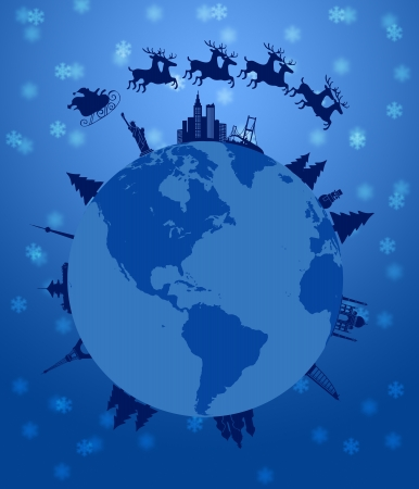 Santa Sleigh and Reindeer Flying Around the World Earth Globe Illustration Banco de Imagens