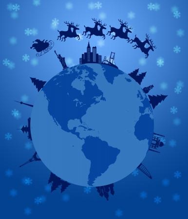 sledge: SANTA trineo y renos volando alrededor de la Ilustraci�n Mundial globo terr�queo