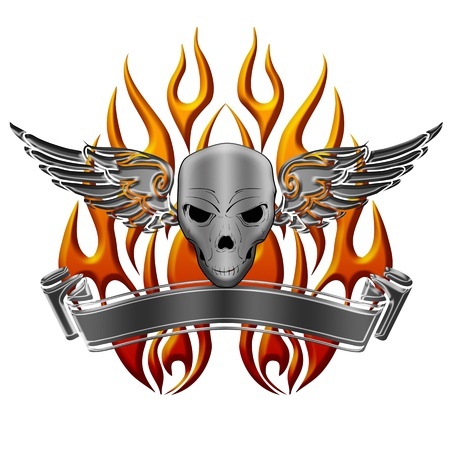 fire skull: Skull with Wings Flames and Banner Illustration