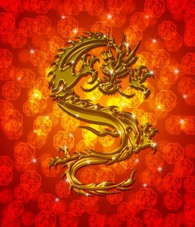 Golden Metallic Chinese Oriental Dragon on Red Blurred Background Illustration