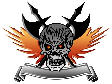 death metal: Skull with Wings Medieval Axe And Banner Illustration