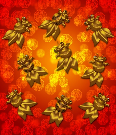 Golden Metallic Chinese Goldfish on Red Blurred Background Illustration