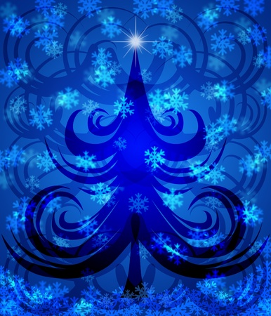 Abstract Swirls Christmas Tree on Blue Background with Snowflakes Illustration Stock Illustration - 11134095