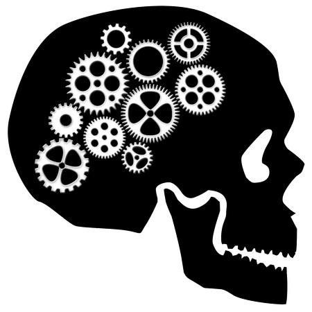 Skull Silhouette with Gears Isolated on White Background Clipart photo