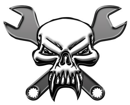 chrome: Bikers Skull Symbol with Mechanics Wrench Illustration