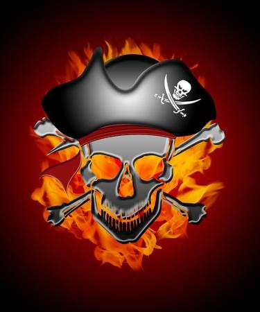 sombrero pirata: Capitán Pirata Calavera con ilustración de fondo de Bomberos Llamas