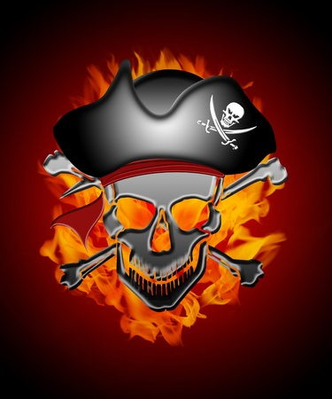 fire skull: Pirate Skull Captain with Fire Flames Background Illustration