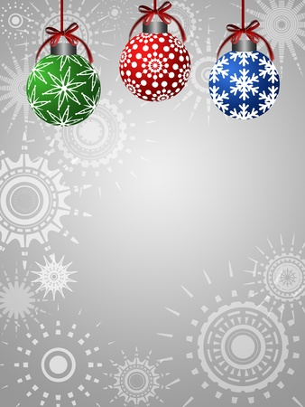 Three Colorful Ornaments on Silver Sun Star Background Illustration