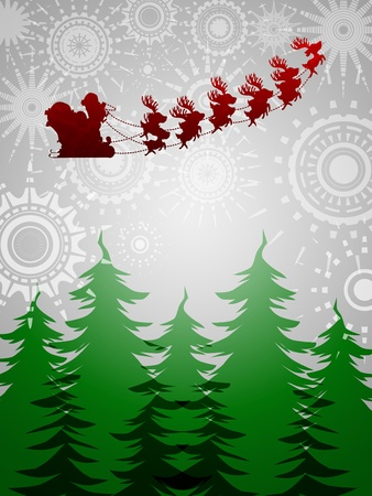 Santa Sleigh Reindeer Flying Over Trees on Silver Sun Star Background Illustration Stock Illustration - 11134104