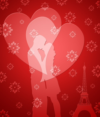 happy couple: Happy Valentines Day Couple in Paris with Eiffel Tower and Hearts Stock Photo