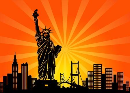 자유의 날개 그림의 뉴욕 맨해튼 도시의 스카이 라인 및 동상