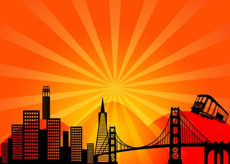 San Francisco California City Skyline and Golden Gate Bridge Illustration illustration