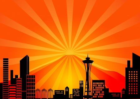 seattle skyline: Seattle Washington City Skyline and Mount Rainier Illustration