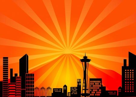 seattle: Seattle, Washington horizonte de la ciudad y el Monte Rainier Ilustraci�n Foto de archivo