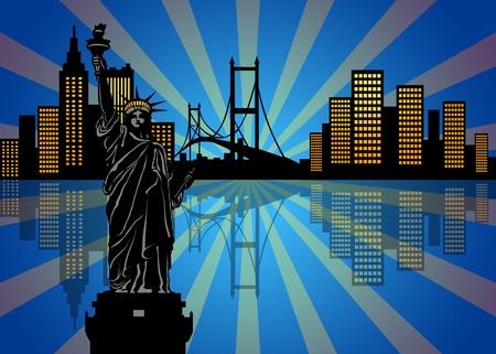 ニューヨーク マンハッタン市街のスカイラインの夜イラストで反射 写真素材