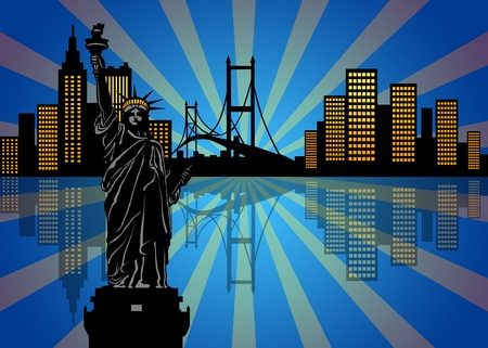 Reflection of New York Manhattan City Skyline at Night Illustration Stock Photo