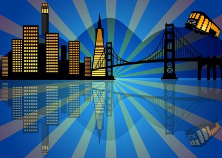 밤 일러스트 샌프란시스코시의 스카이 라인의 반사