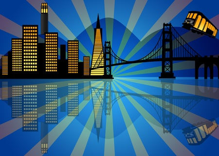 uptown: Reflection of San Francisco City Skyline at Night Illustration Stock Photo