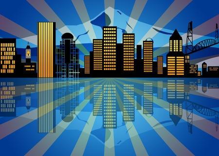 Reflection of Portland Oregon City Skyline at Night Illustration Stock Illustration - 11303724