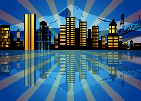 Reflection of Portland Oregon City Skyline at Night Illustration illustration