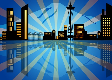 Reflection of Seattle Washington City Skyline at Night Illustration illustration