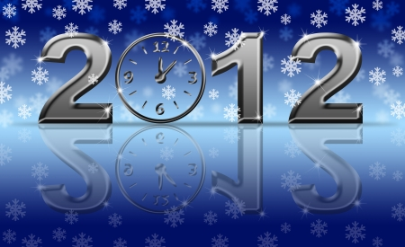 Silver 2012 Happy New Year Clock with Snowflakes and Reflection Stock Photo - 11303801
