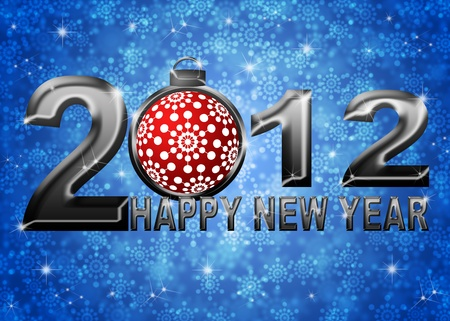 2012 Happy New Year Snowflakes Ornament on Blue Blurred Snow Background Stock Photo - 11303803